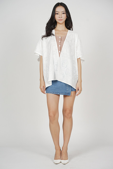 Marcas Lace Kimono Jacket in White - Arriving Soon