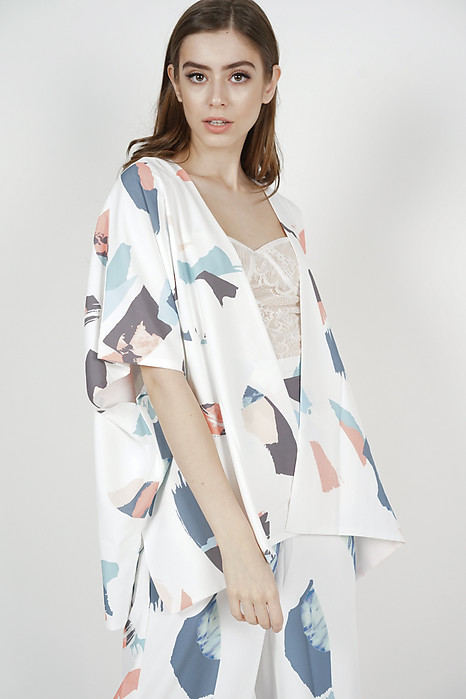 Mirae Kimono Jacket in White Brush