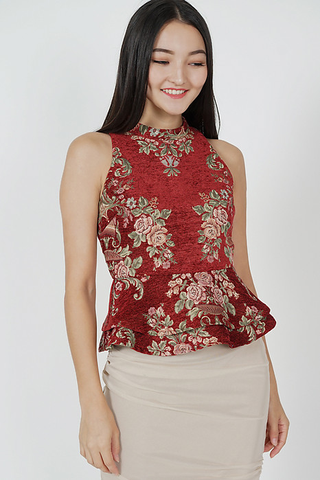 Hanna Peplum Top in Maroon Gold