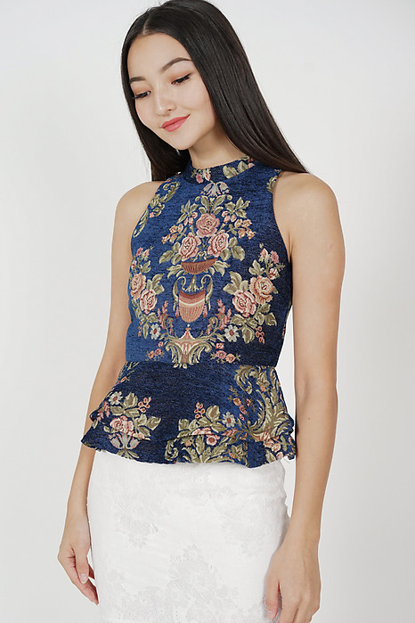 Hanna Peplum Top in Midnight Gold