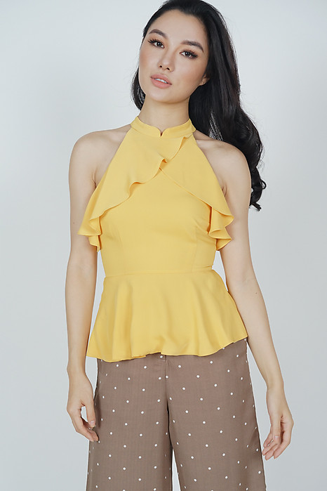 Halter Ruffled Top in Mustard