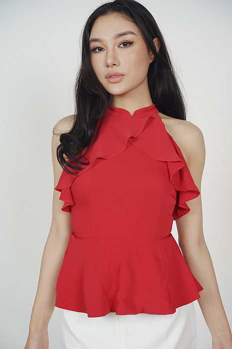Halter Ruffled Top in Red