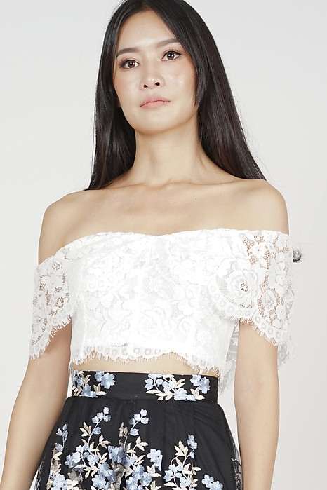 Agnete Lace Top in White