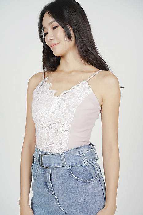 Jonelle Lace-Trimmed Top in Pink