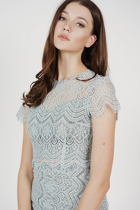 Dorcia Lace Top in Ash Blue