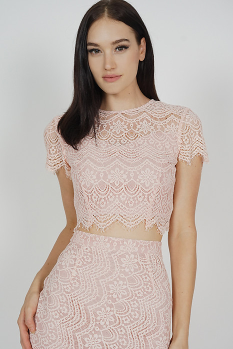 Dorcia Lace Top in Pink - Arriving Soon