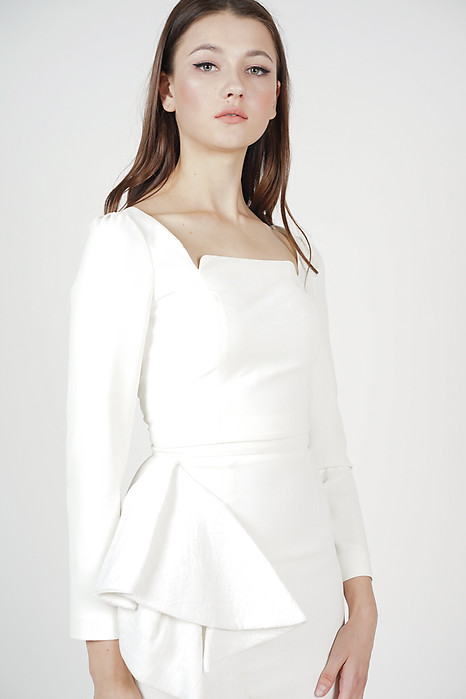 Narda Sleeved Top in Off White - Arriving Soon