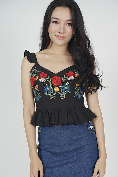 Beryl Embroidered Top in Black - Online Exclusive
