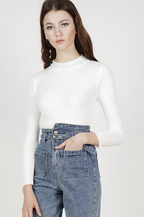 Medeia Long Sleeve Knit Top in White - Online Exclusive