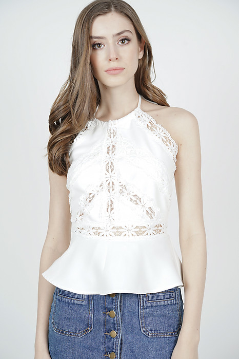 Kelisha Drawstring Halter Top in White - Arriving Soon