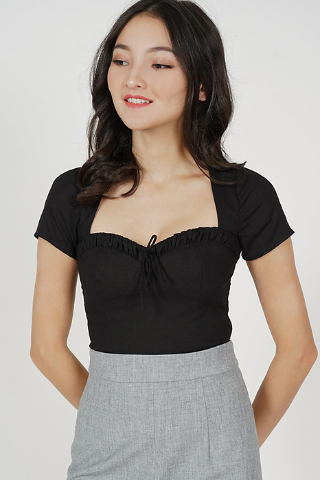 Ainsley Front Tie Top in Black - Arriving Soon