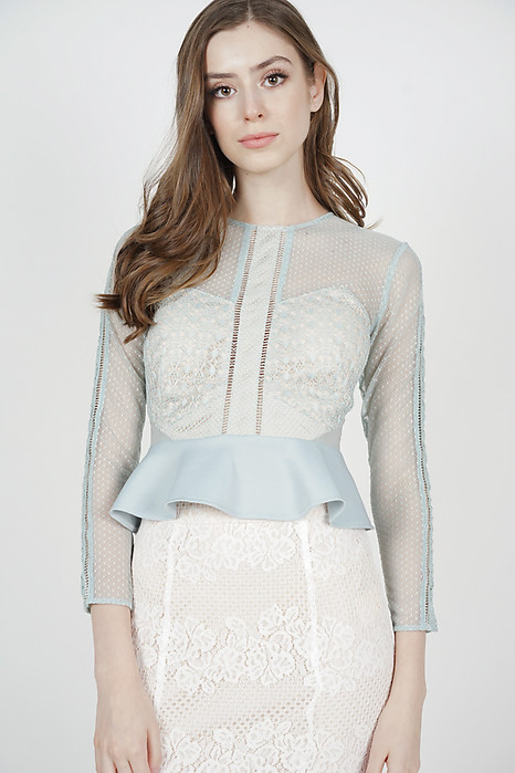 Hilary Sheer Top in Ash Blue