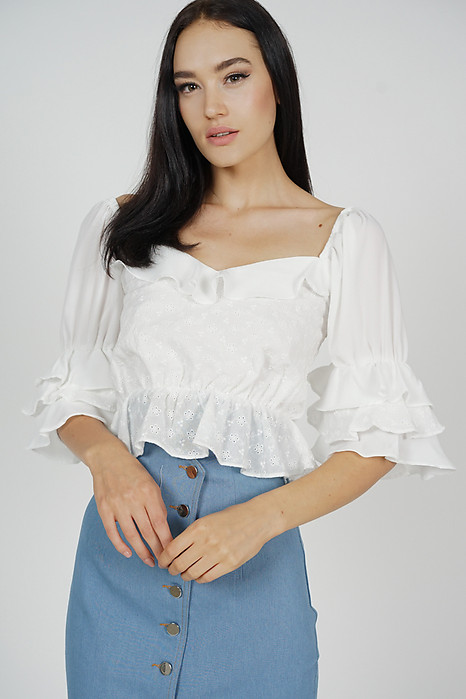 Dana Ruffled Top in White