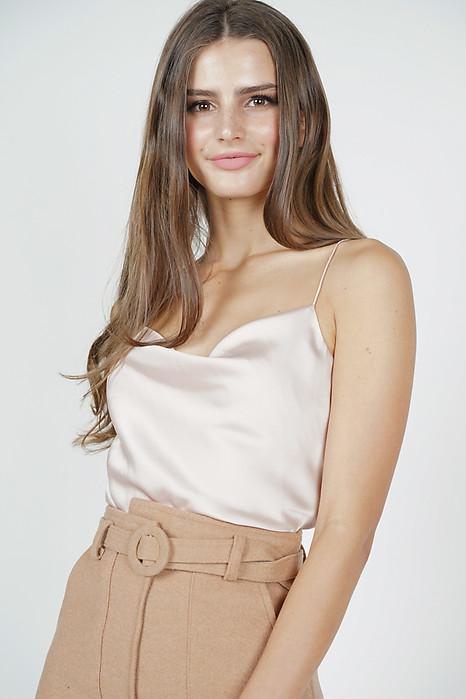 Elise Satin Top in Beige - Arriving Soon