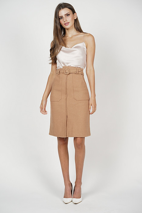 Elise Satin Top in Beige