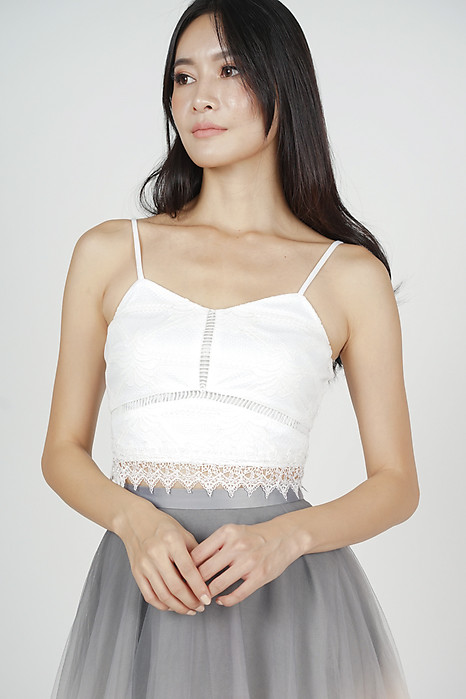 Shieya Lace-Trimmed Top in White