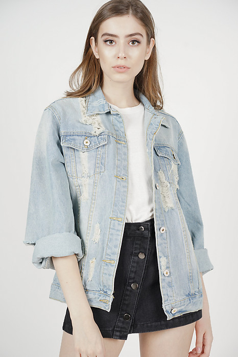 Kai Ripped Denim Jacket in Light Blue