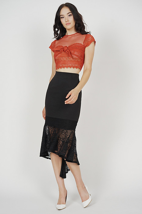Titania Lace Top in Rust
