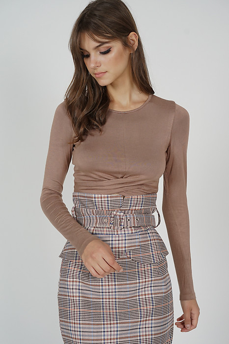 Ozzie Criss-Cross Top in Nude