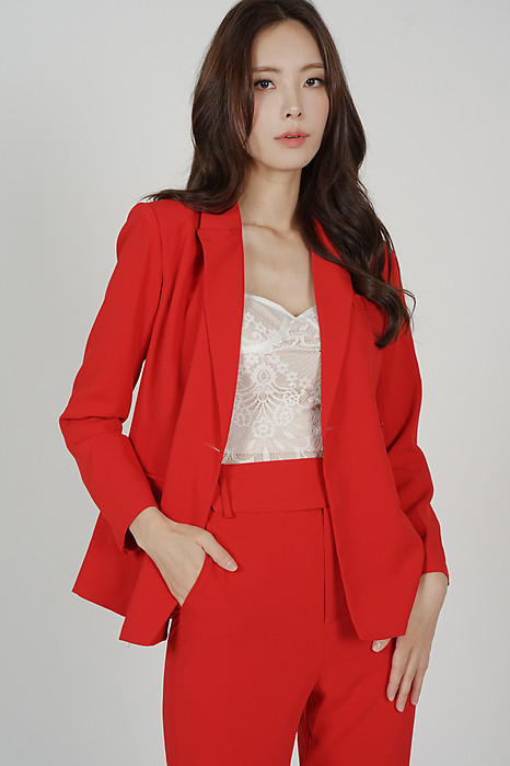 Gretchen Buttoned Blazer in Red - Arriving Soon