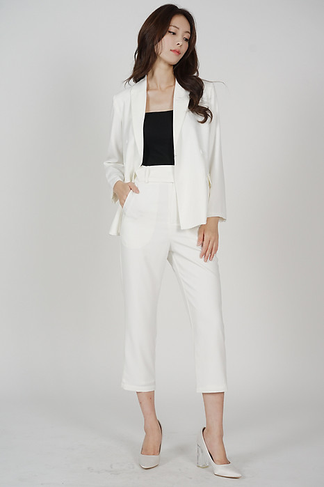 Gretchen Buttoned Blazer in White - Arriving Soon
