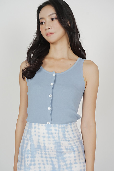 Mani Buttoned Top in Blue - Online Exclusive