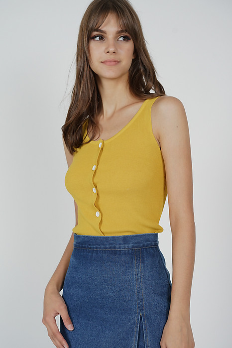 904d54b68c569d Mani Buttoned Top in Mustard - Online Exclusive