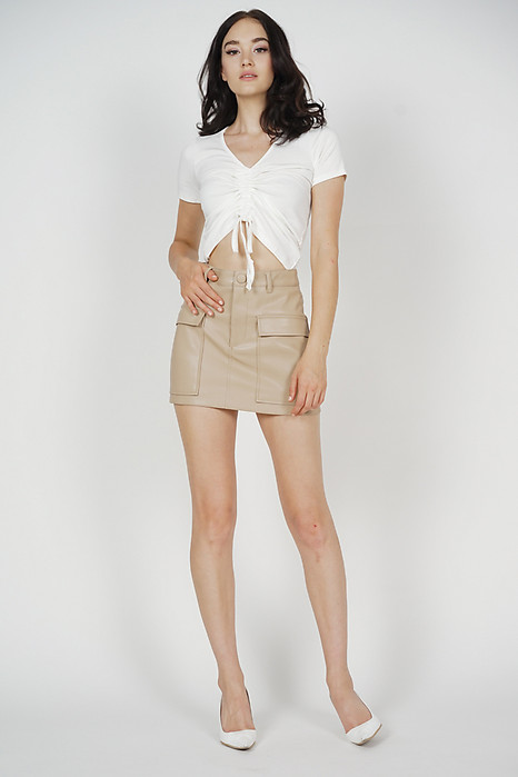 Lusha Gathered Front Top in White - Online Exclusive