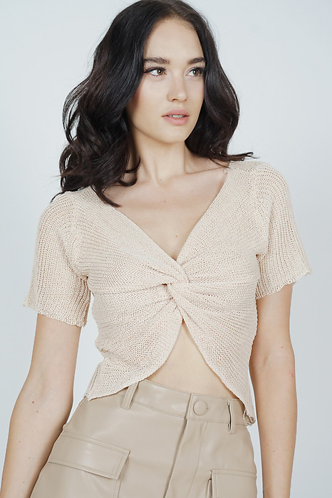 Ivalo Knotted-Front Top in Nude - Online Exclusive