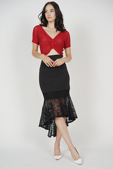 Ivalo Knotted-Front Top in Red - Online Exclusive