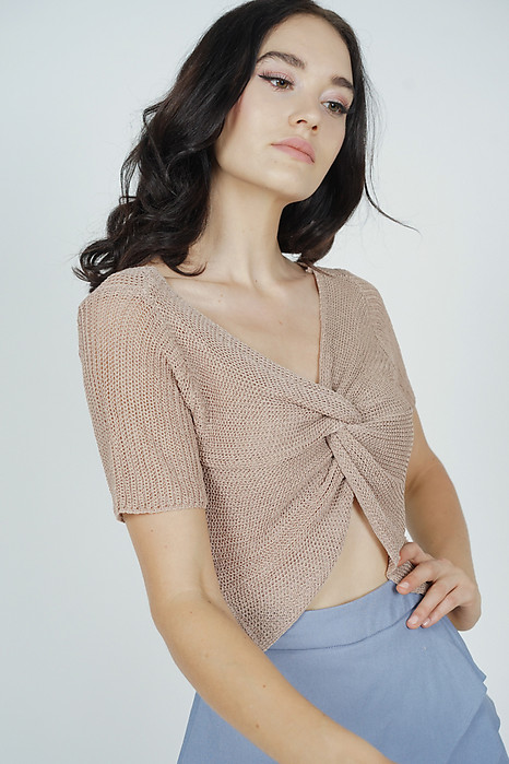 Ivalo Knotted-Front Top in Taupe - Online Exclusive