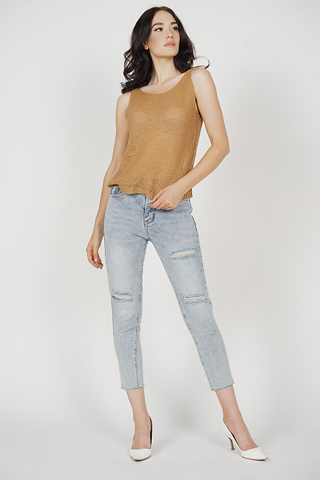 Kiesha Knitted Tank Top in Camel - Online Exclusive