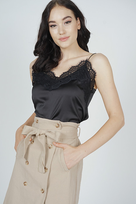 Willow Lace-Trimmed Top in Black - Arriving Soon