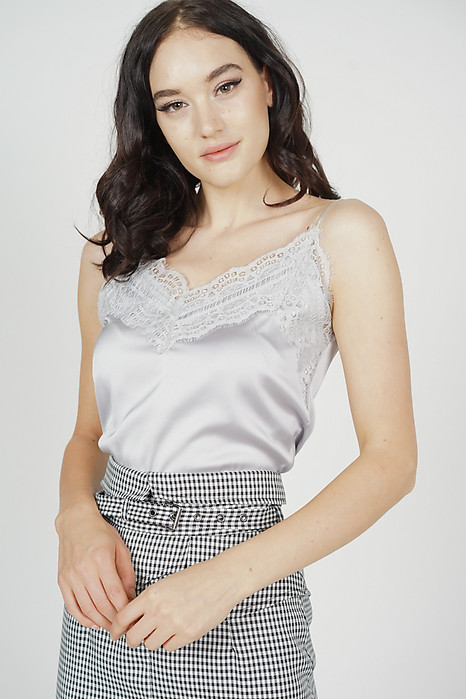 Willow Lace-Trimmed Top in Silver - Online Exclusive