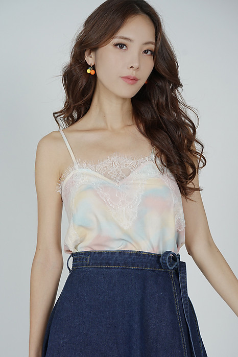 Riwa Lace-Trimmed Top in Multi Pastel