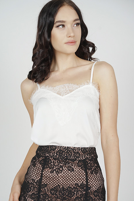 Riwa Lace-Trimmed Top in White - Arriving Soon