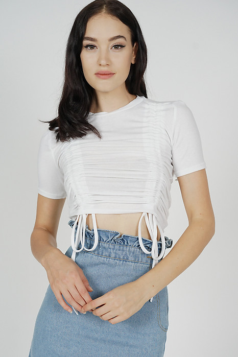 Livya Ruched Top in White - Arriving Soon
