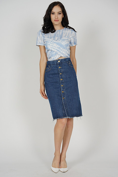 Mayrie Criss Cross Top in Blue - Arriving Soon