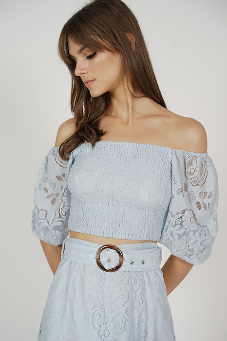 Tozlia Smock Lace Top in Ash Blue