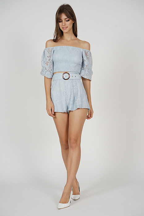 Tozlia Smock Lace Top in Ash Blue - Arriving Soon
