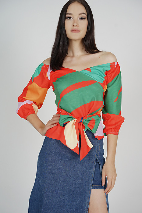 Yenie Overlay Puffy Top in Orange Abstract - Arriving Soon