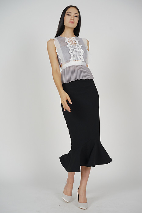 Lestie Pleated Peplum Top in Grey - Arriving Soon