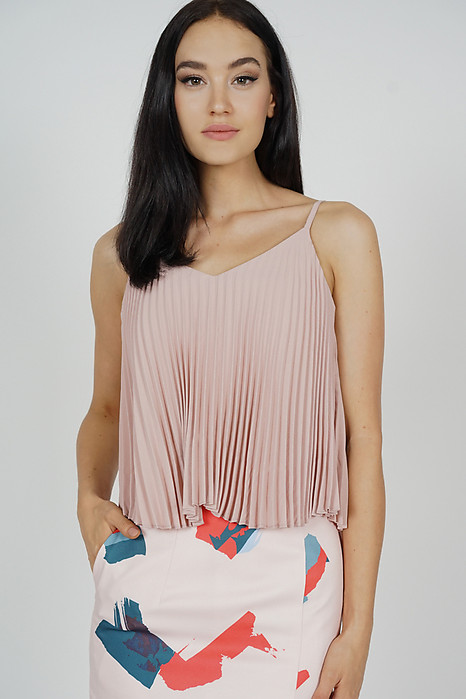Afra Pleated Cami Top in Pink