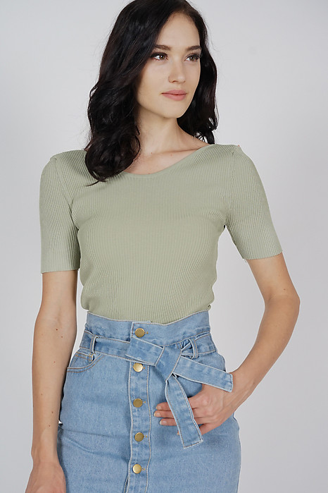 Ashie Knit Top in Sage - Online Exclusive