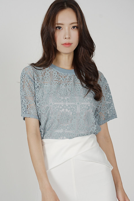 Tisha Lace Top in Blue - Online Exclusive