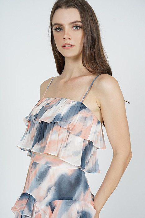 Koni Overlay Pleated Top in Blue Pink