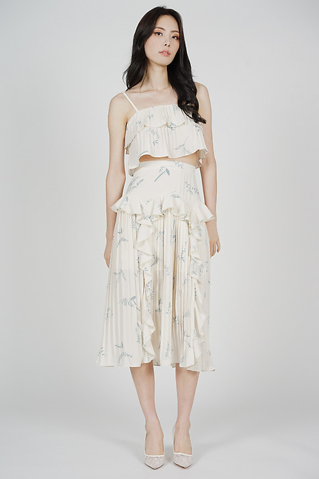 Koni Overlay Pleated Top in Cream Floral