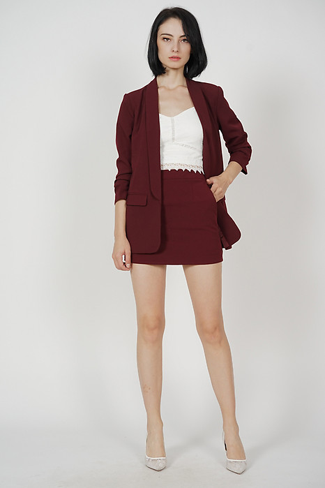 Maizel Gathered Sleeve Blazer in Oxblood - Arriving Soon