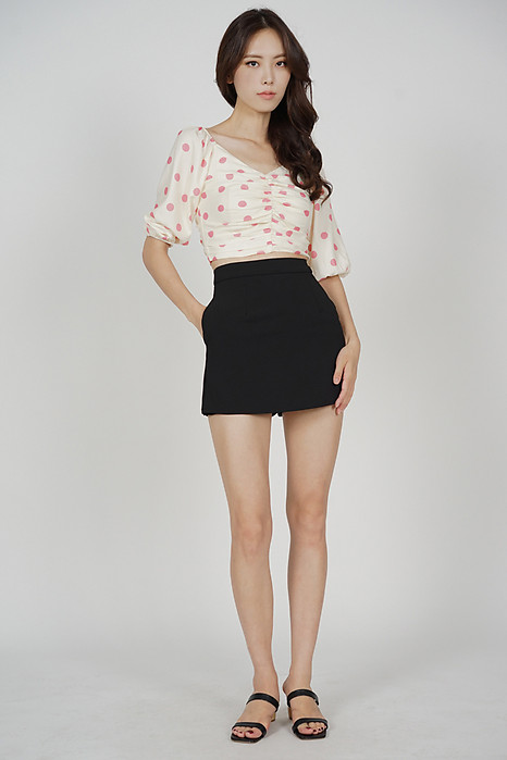 Olga Ruched Top in Cream Polka Dots - Arriving Soon