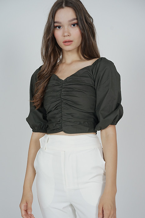 Olga Ruched Top in Olive - Arriving Soon